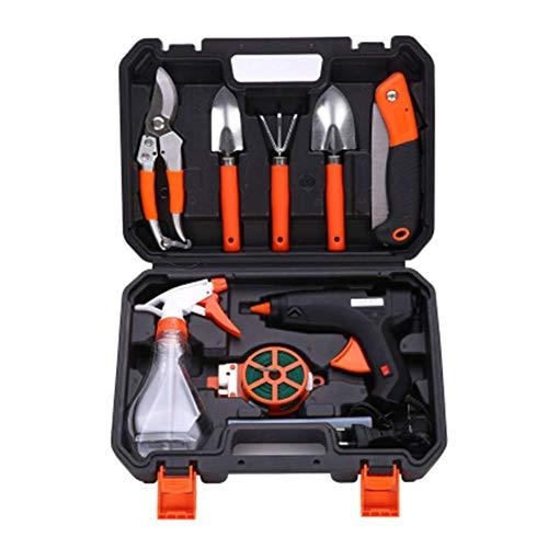 DBWIN Ensemble d'outils de Jardin Durable, Kit d'outils à Main de Jardin 9 pièces avec étui de Rangement, Cadeau avec Cisaillement de Branche, pelles, arrosoir, Ligne d'élagage, bâton de Colle, pi