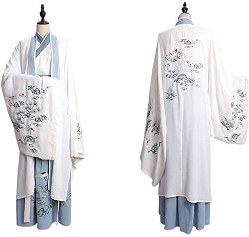 Chunjiao Hennefu Drie oude onderdelen voor heren van Hennefu Traditioneel Prestaties Vintage Kostuum Hollywood Cosplay Wit Hennepkostuum Tang