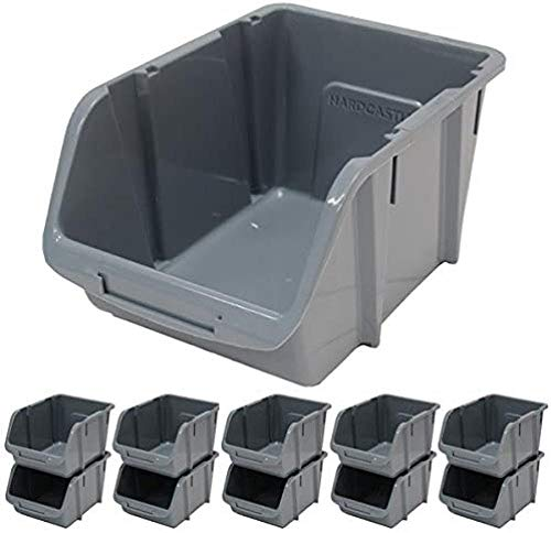 LHYLHY Large Grey Plastic Stacking Storage Bins x10