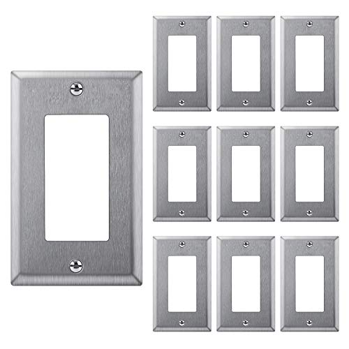 [10 Pack] BESTTEN Decorator Receptacle Metal Wall Plate, 304SS, 1 Gang Standard Industrial Stainless Steel Outlet Cover, Durable Corrosion Resistant, Silver