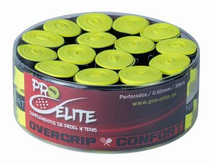 overgrips Pro Elite Confort Perforados. Bote de 30 unds. (Amarillo flúor)