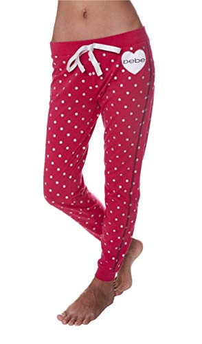 bebe Womens Elastic Waist Banded Ankle Pajama Lounge Sweatpants Bright Rose Large