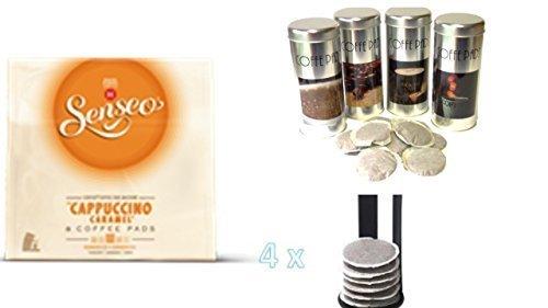 SENSEO®Typ Cappuccino Caramel + 4 Paddosen passend zur Padmaschine + 4 Padheber