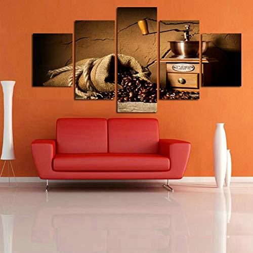 UDPBH 5 Panel Canvas Schilderen Muur Art Home Decor Koffiebonen Voor Woonkamer Moderne Hd Print Koffiemachine Landschap Beeld
