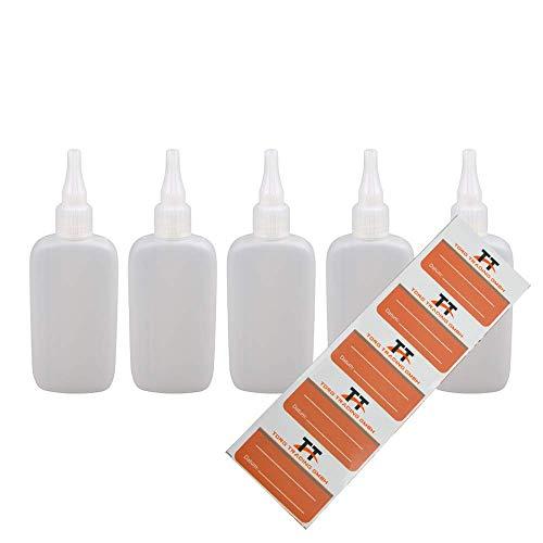 Ovale Liquid-Flaschen 5 x 100ml - Flachmann, Kunststoffflaschen aus weichem PE inkl. 5 Etiketten (weiß/transparent) - Liquid Flasche - Tropfflaschen,Dosierflaschen,Dropper Flaschen,Quetschflaschen