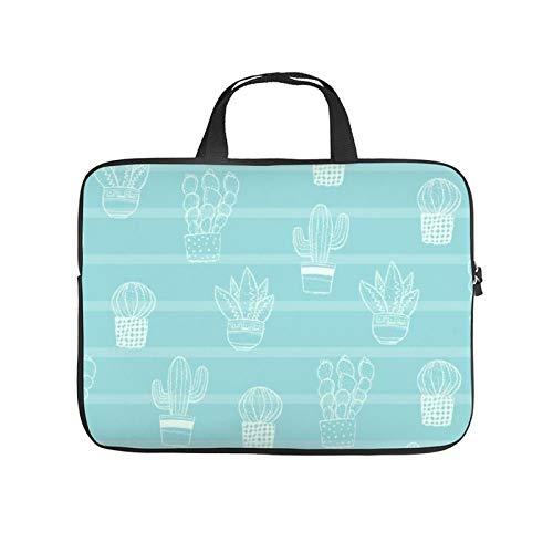 13inch Laptop Shoulder Messenger Bag, Laptop Case, Cactus Pattern Turquoise Aqua Teal Line Design Font, Laptop Shoulder Bag, Messenger Bag Case, Business/Office/Work Bag