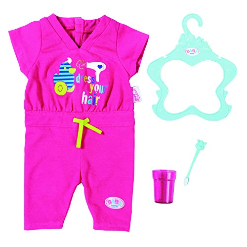 Zapf Creation 823590 BABY born Deluxe Bathtime Set, Jumpsuit mit Zahnbürste und Zahnputzbecher, Puppenkleidung 43 cm, pink
