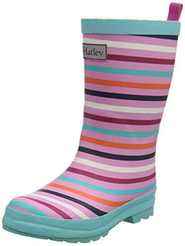 Hatley Printed Wellington Rain Boots, Botas de Agua para Niñas, Rosa (Rainbow Stripe 650), 32 EU