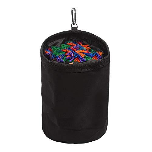 Meowoo Wäscheklammer Beutel Aufhängen, Klammerbeutel Klammerkorb Aufbewahrungstasche Wasserdicht Peg Bag mit 1 Hängehaken, Organizer für Indoor und Outdoor Höchstens 200 Wäscheklammern(Schwarz 1 STK)