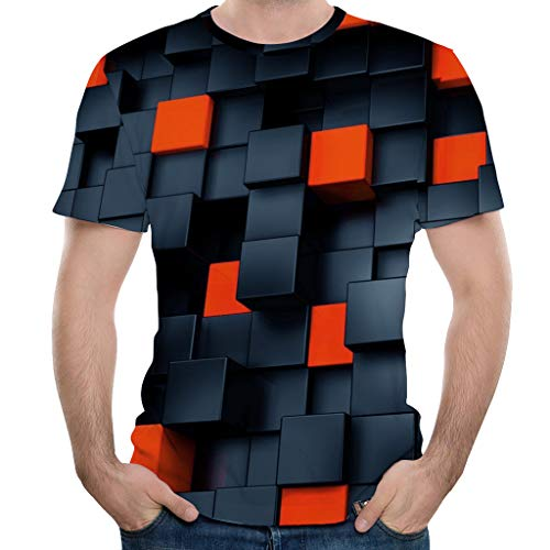 Unisex 3D Printing Graphic Tees Shirt Short Sleeve Crewneck Tops Slim-Fit Blouse for Mens (M, Black)