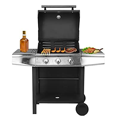 TOPINCN Rolling Gas Grill Cabinet, 3-Burner Liquid Propane Grill Stainless Steel Patio Garden Barbecue Grill with Side Burner 36849.6 BTU 400 sq.in. for Restaurant Garden