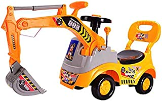 Digger Scooter, Ride-on Excavator, Pulling Cart, Pretend Play Construction Truck - Yellow