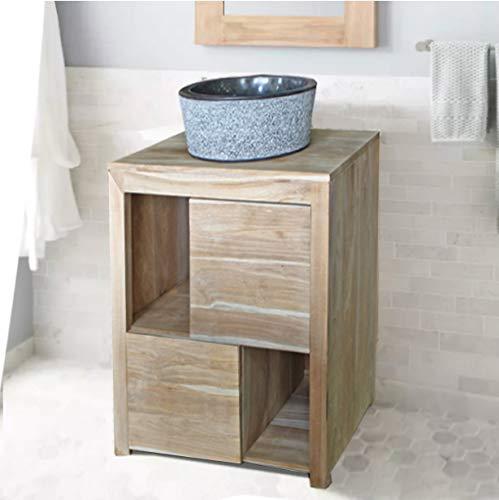 Tayasia Conjunto Mueble de baño Madera de teka y Lavabo de marmol