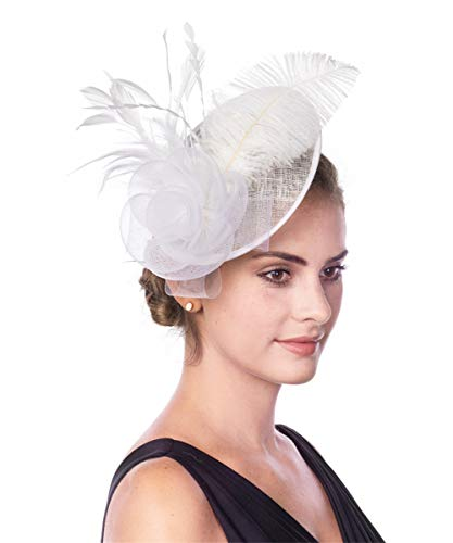SAFERIN Fascinator Hat 20s 50s Hat Pillbox Hat Cocktail Tea Party Headwear with Veil for Girls and Women… (TA4-White)