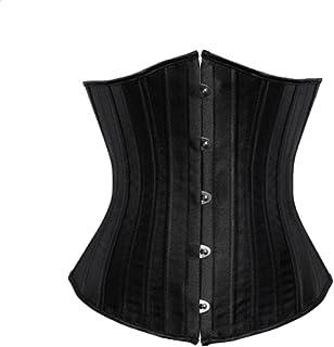 كورسيه للنساء تحت الصدر مشدات أسود مشمش نسائي لتشكيل الخصر مشبك ضيق مقاس Xxs-XXL (اللون: أسود، المقاس: XX-Large)