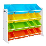 SONGMICS Kid's Large Toy Storage Unit with 16 Removable Bins, for Playroom, Children's Room, 41.7', Rainbow Without Sticker