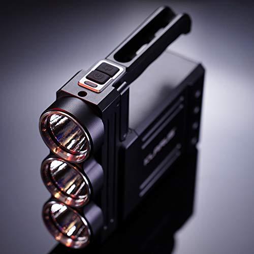 KLARUS RS80GT - Linterna LED 10.000 lumenes - Haz de luz 570m Linterna portátil con batería 18650 recargable 6x3400mAh + Cargador - 3xCREE XHP70 2nd Gen