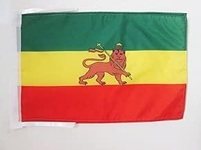AZ FLAG Bandera de ETIOPÍA 1897-1974 con Leon 45x30cm - BANDERINA ETÍOPE Rasta 30 x 45 cm cordeles