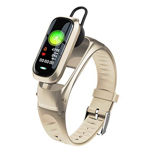 Riou Fitness Armband mit Headset 2 in 1 Fitness Tracker Wasserdicht Smartwatch mit Blutdruckmessung Pulsmesser Aktivitätstracker Schrittzähler Sportuhr für Damen Herren