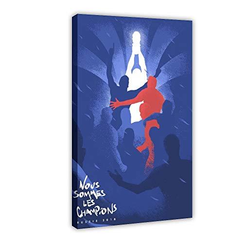 Póster de Allez Les Bleus Champions de arte vintage en lienzo, decoración de dormitorio, deportes, paisaje, oficina, decoración de habitación, regalo de 40 x 60 cm, estilo de marco 1