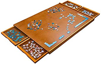"""Jumbl Puzzle Board   23"""" x 31"""" Wooden Jigsaw Puzzle Table w/ 4 Storage & Sorting Drawers   Smooth Plateau Fiberboard Work Surface & Reinforced Hardwood   for Games & Puzzles Up to 1,000 Pieces"""