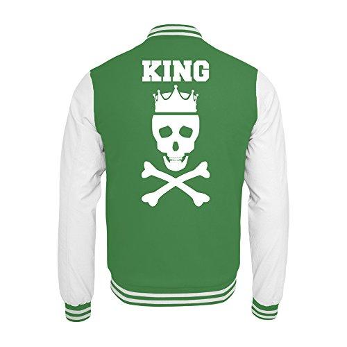 PlimPlom Partner Pärchen College Jacke in Grün/Weiß King/Queen Totenkopf mit Krone - Jacke mit bedruckter Rückseite für Damen und Herren (XL)