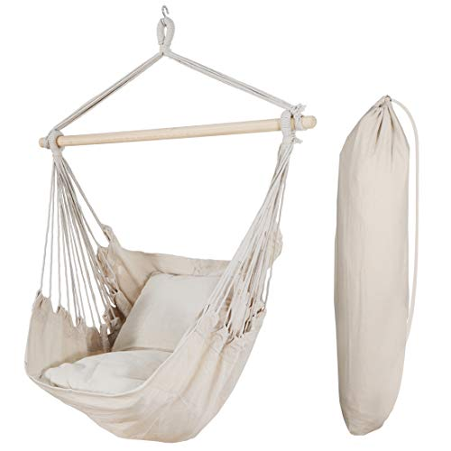 Saturnpower Hammock Chair Hanging Rope Chair Swing Weave Seat with 2 Cushions and Storage Bag for Any Indoor or Outdoor Spaces, 320 Lbs Weight Capacity (Beige)