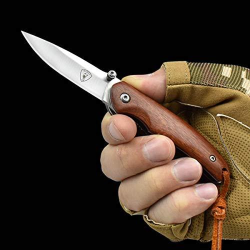 AUBEY Mini Taschenmesser Klein Messer Holzgriff Klappmesser Holz Einhandmesser EDC Folder Pocket Knife Outdoor Survival, 6 cm Klingenlänge (D2 Stahl)