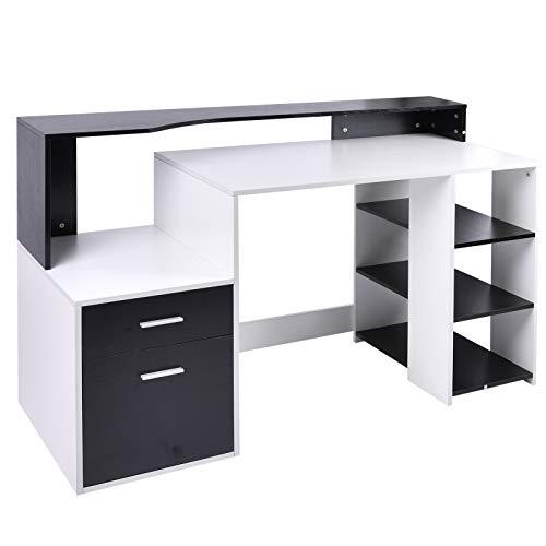 HOMCOM Escritorio para computadora Diseño multimedia Almacenamiento múltiple 137 L x 55 W x 92 H cm Blanco y negro