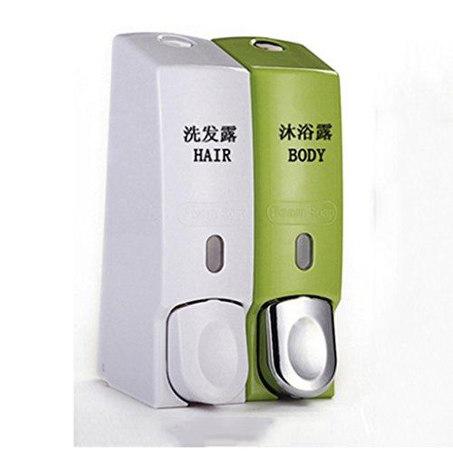 Cqq distributeur de savon Distributeur de savon à mousse manuel ménagé à la main pour le ménage Nettoyant pour les mains Ensemble de savon à main pour salle de bains à la main Bouteille à savon muraux suspendu ( Couleur : White plus green )