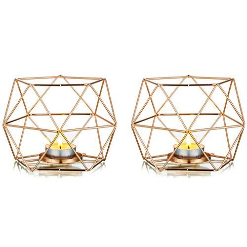 Nuptio 2 Stück Teelicht Kerzenhalter Gold Kerzenhalter, Geometrische Kerzenhalter Esstisch Kerze Herzstück Dekorationen für Wohnzimmer Schlafzimmer, Hochzeit Einweihungsparty Geburtstagsgeschenke