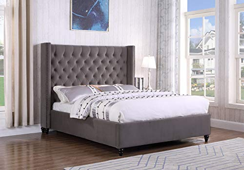 Best Master Furniture Holland Tufted Platform Bed, Cal King, Grey