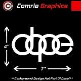 Comrie Graphics Dope Audi Logo Sticker Decal #DL1 for A3 A4 A5 A6 A8 Allroad S4 S5 S6 S7 RS 3 4 5 7 TT R8 Q3 Q5 SQ5 Q7 Car SUV (White)