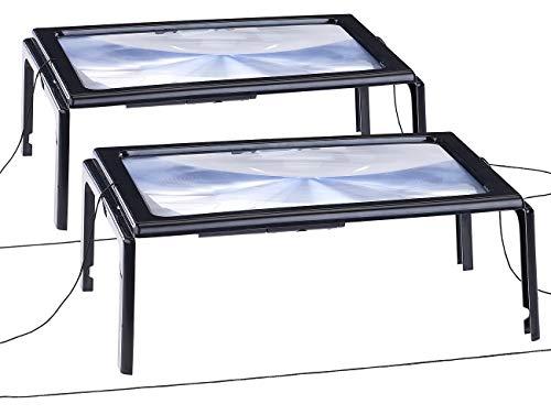 AGT Standlupe: 2er-Set XXL-Leselupe mit 3-facher Vergrößerung, 4 LEDs und Klappstände (Vergrösserungsglas)