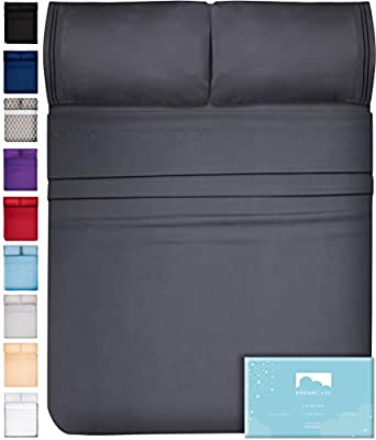 DreamCare Deep Pocket Sheets Microfiber Sheets Bed Sheets Set 4 Piece Bedding Sets Queen Size, Gray