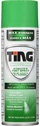 Ting Antifungal Spray Powder for Athlete's Foot, Jock Itch, Ringworm | Max Strength | 4.5-Ounces | 5-Pack