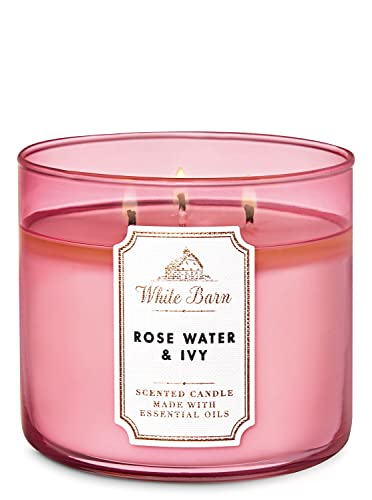 White Barn Bath and Body Works Rose Water & Ivy Scented 3 Wick Candle 14.5 Ounce