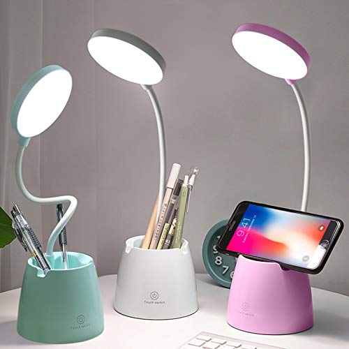 Lámpara escritorio, Flexo LED Escritorio con 3 Modos de Iluminación y 10 Niveles de Brillo, Rotación Regulable de 360 ° Para Leer, Estudiar, Trabajar (Blanco(906))