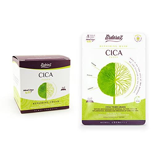 Ardaraz - Crema facial Hidratante + mascarilla - Reparadora, Calmante y Redensificante concentrada en CICA, centella asiática. Crema antiarrugas 50 ml.