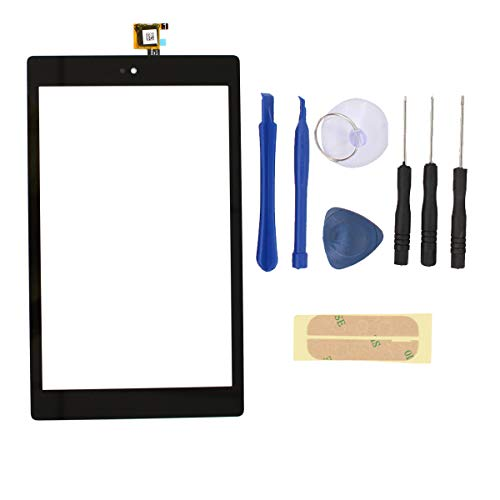 XtremeAmazing 8'' Inch Digitizer Touch Screen Panel Glass with Screwdriver Tool and Adhesive Replacement for Amazon Kindle Fire HD8 7th Gen 2017 Release SX034QT