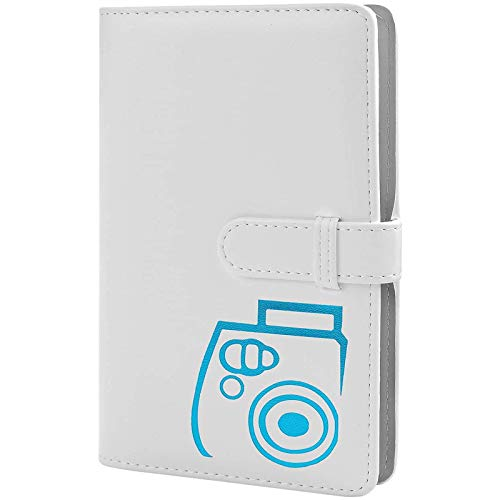 Álbum de fotos con 96 bolsillos de piel sintética, compatible con Fujifilm Instax Mini 11 / 7S / 8/8+ / 9/25 / 26/90 / 70 / 50s Instant Camera Film y Polaroid Snap. (blanco)