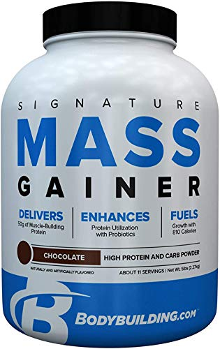Bodybuilding Signature Signature Mass Gainer | 50g of Mass-Building Protein | Protein, Calories, Fats, Probiotics and Carbohydrates | 5 Lbs. Chocolate