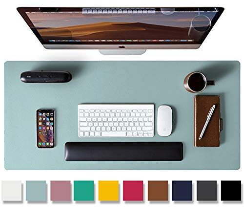 """Leather Desk Pad Protector,Mouse Pad,Office Desk Mat, Non-Slip PU Leather Desk Blotter,Laptop Desk Pad,Waterproof Desk Writing Pad for Office and Home (Light Blue,31.5"""" x 15.7"""")"""