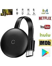 WiFi Display Dongle, Adaptador HDMI inalámbrico 1080P portátil TV Receptor, Pantalla de Espejo Airplay Dongle de teléfono a Pantalla Grande, Soporte Miracast Airplay DLNA TV Stick (Negro)