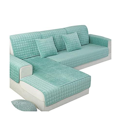 1 del sofföverdrag för vardagsrum grå kaffe beige plysch mjuk soffkudde soffskydd modern minimalistisk hörnsoffa handduk-grön-110 x 160 cm 1 st