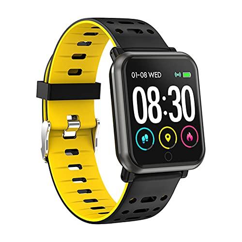 ZOZIZZ Smart Watch, Presión Arterial Monitor de frecuencia cardíaca IP68 Reloj Deportivo a Prueba de Agua Rastreador de Fitness Multifuncional, Amarillo