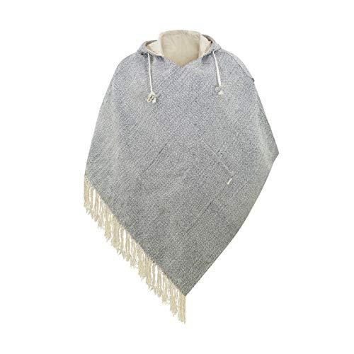 virblatt - Poncho Herren | Hanf & Baumwolle | Poncho Winter Nepal Jacke | Wendefunktion | Jerga Hoodie Stoff Poncho -Abajo Hanf L-XL