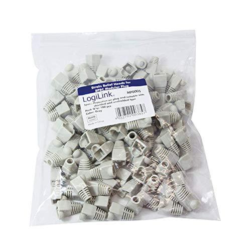 LOGILINK - MP0005 Knickschutzhülle, Für 8P8C Modularstecker Beutel mit 100 Stück, Grau 685086