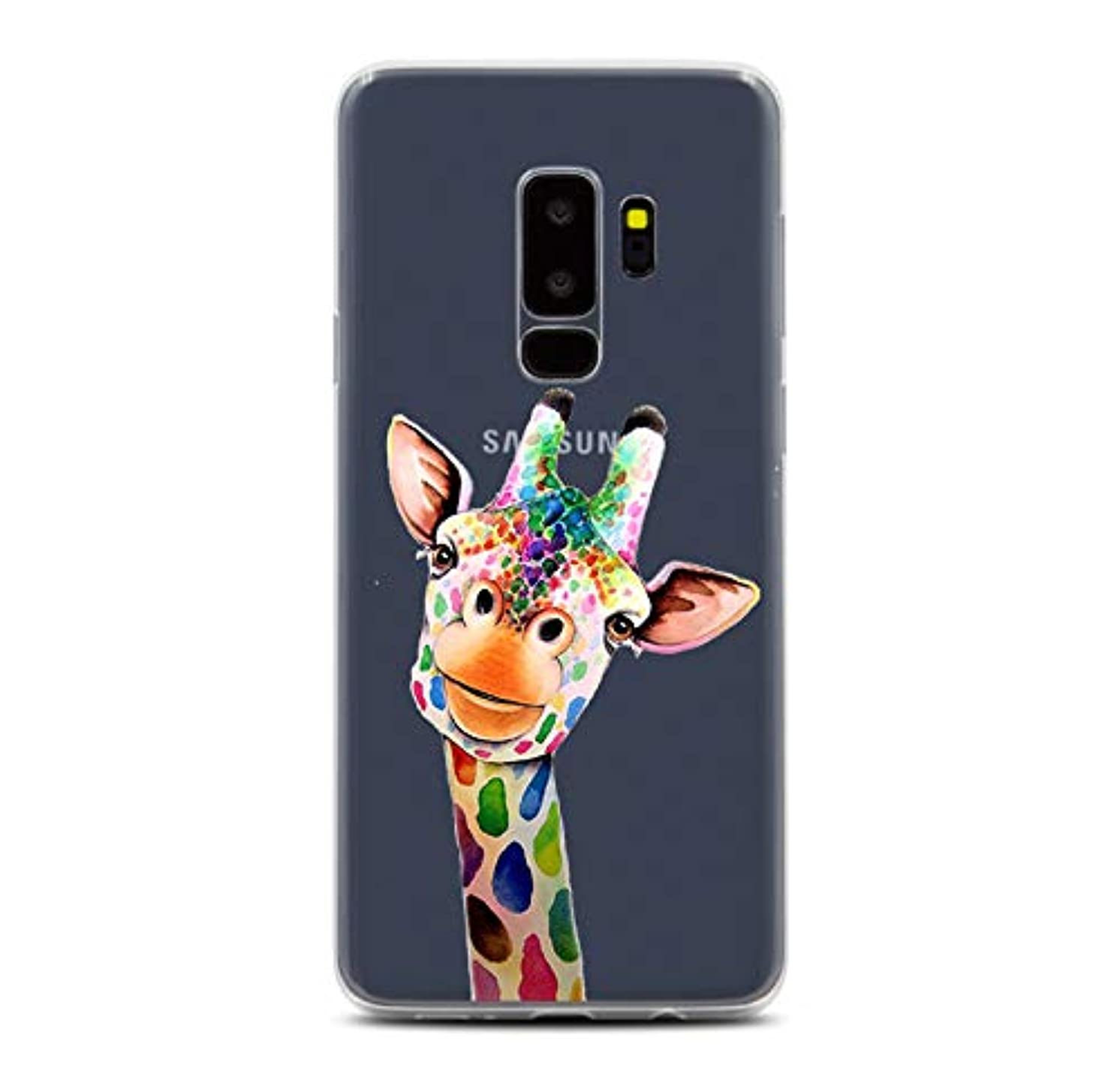 LEMONCOVER Phone Case Compatible with Galaxy S9 Plus Case,Lovely Animal Colorful Pattern Soft Silicone Protective Shockproof Clear Cute Art Design Funny Bumper Back Cover for Galaxy S9 Plus, Giraffe