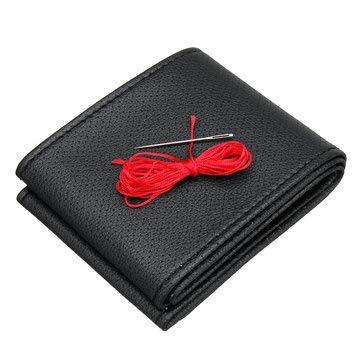 C-FUNN Diy autostuurwieldoppen Pu lederen beschermer met naald en draad 37-38Cm universeel Zwart+Rood